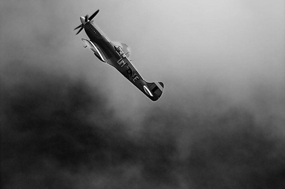 monoplane on mid air