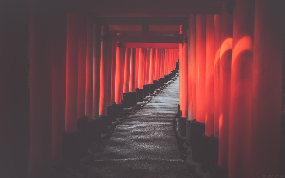 red and black hallway