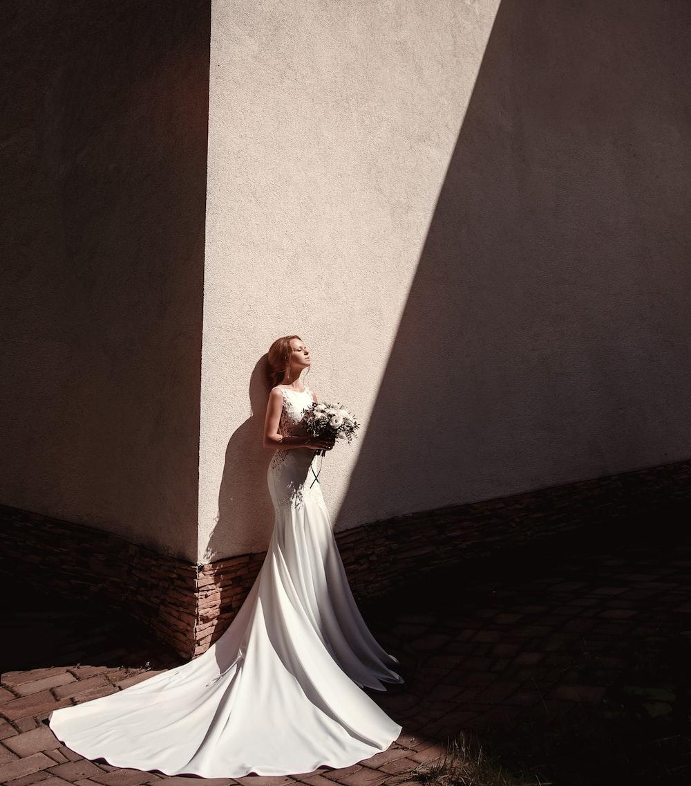 edinburgh wedding dress in sunlight