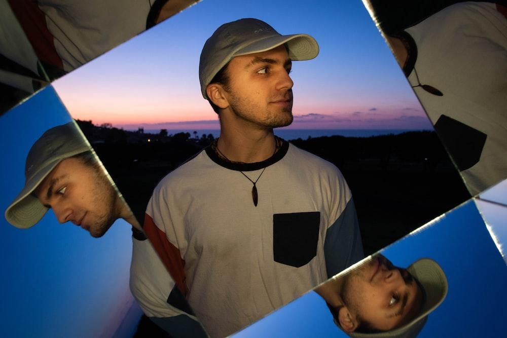 man's photo collage