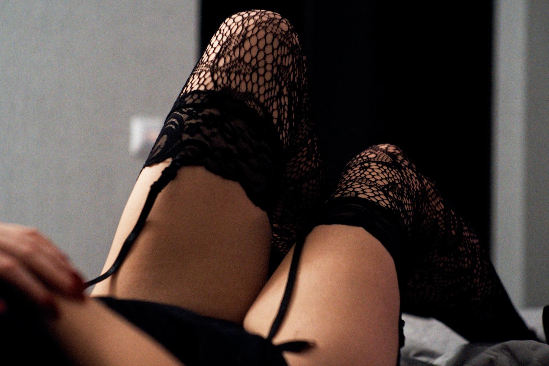 woman wearing mesh stockings