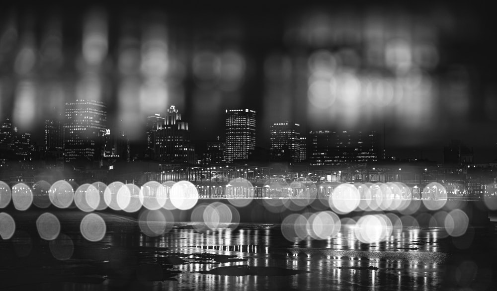 grayscale photo of city lights