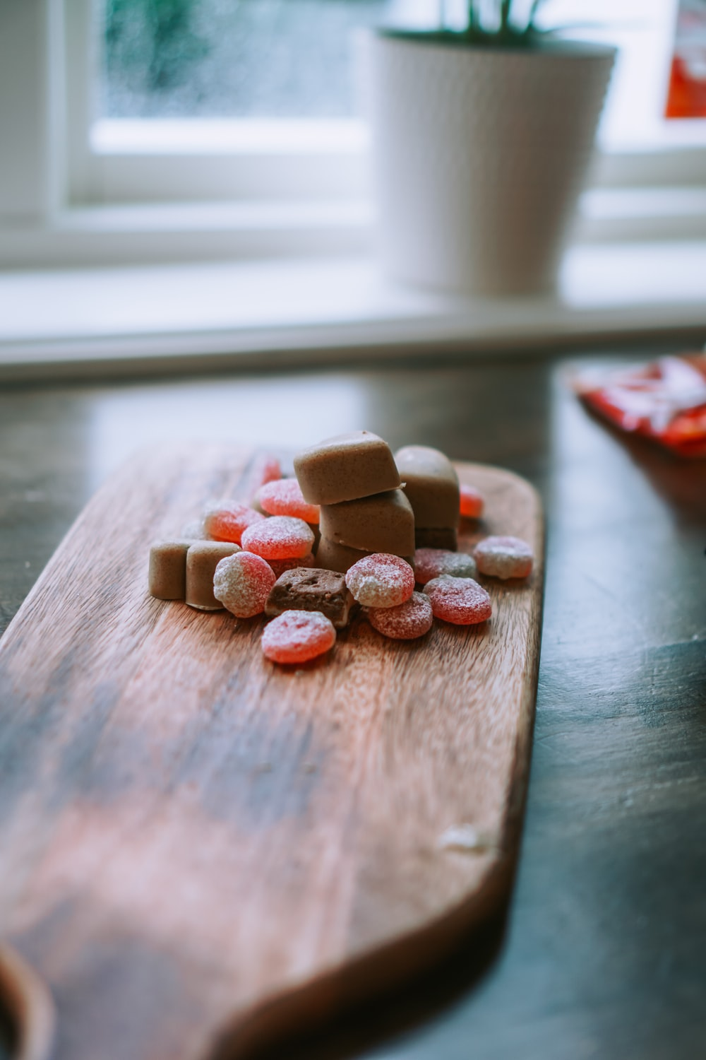 brown heart shaped cookies on brown wooden table