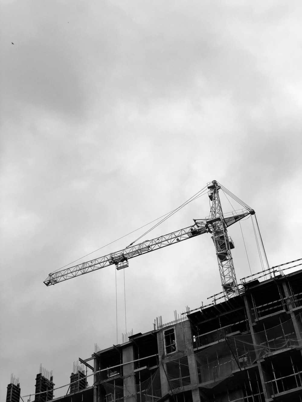 grayscale photo of crane under cloudy sky