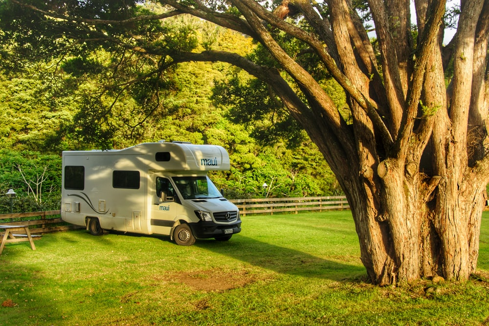 white and blue van parked on green grass field during daytime