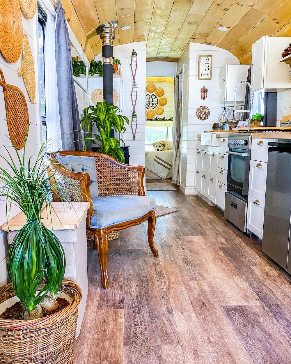 brown wicker armchair on brown wooden floor