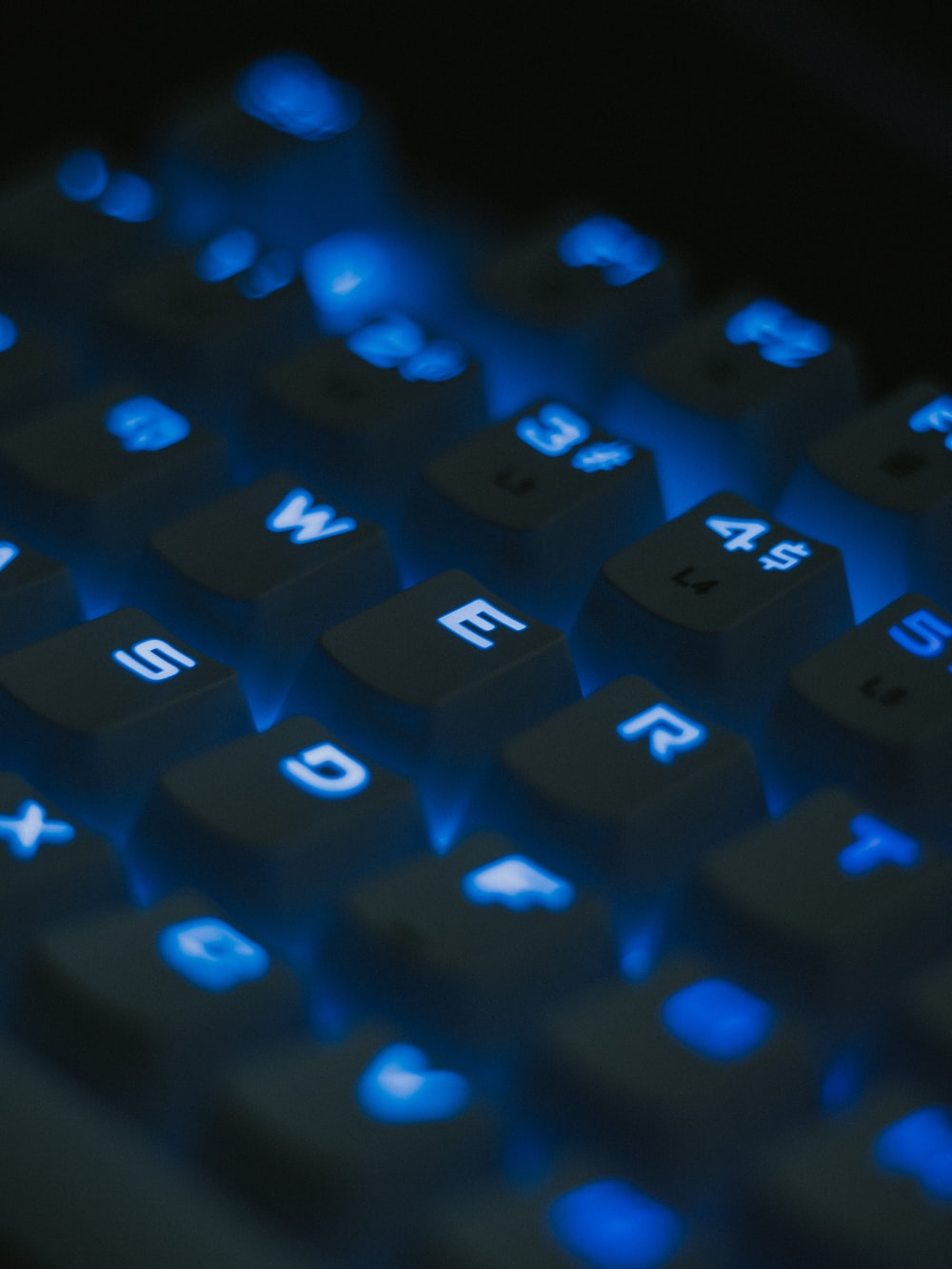 blue and black computer keyboard
