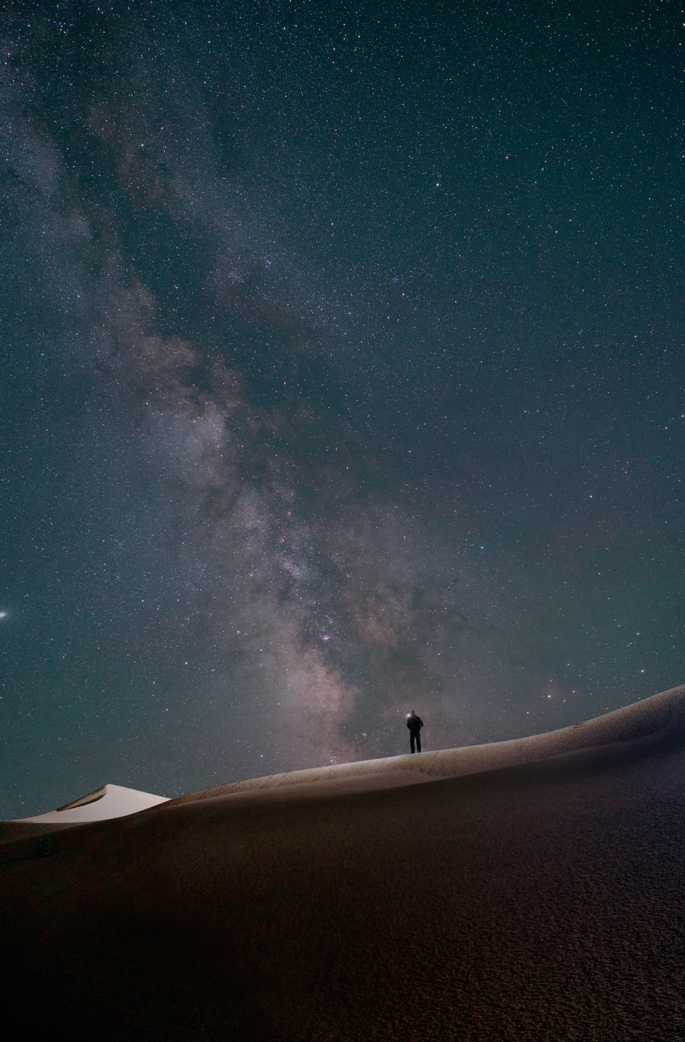 silhouette of person standing on roof under starry night