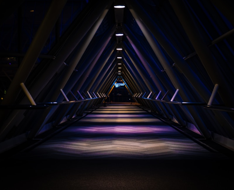 blue light in tunnel during night time