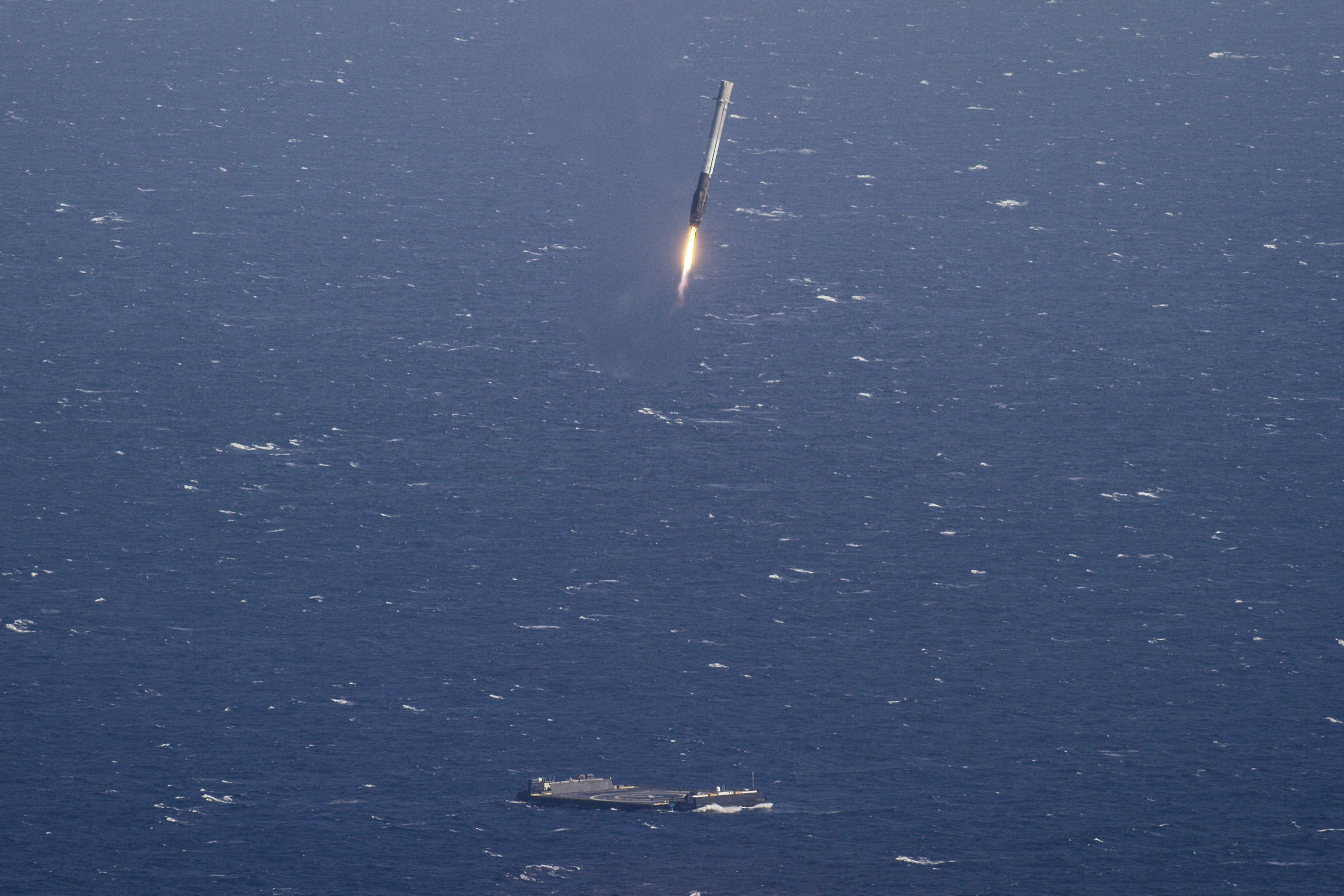 <p>SpaceX makes history landing the first rocket at sea. And giving that photo for anyone to use on Unsplash.</p>