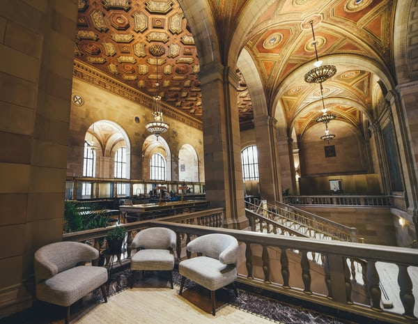 """<p>We turned our office into a cafe workspace for creators. Story on <a href=""""https://www.fastcodesign.com/3063942/this-chic-co-working-space-revitalizes-a-grand-abandoned-bank"""">Fast Company</a>, <a href=""""http://hypebeast.com/2016/9/historic-montreal-bank-converted-startup-office-space"""">HypeBeast</a>, and <a href=""""http://thecoolhunter.net/crew-collective-co-working-share-space-montreal-canada/"""">Cool Hunter</a>.</p>"""