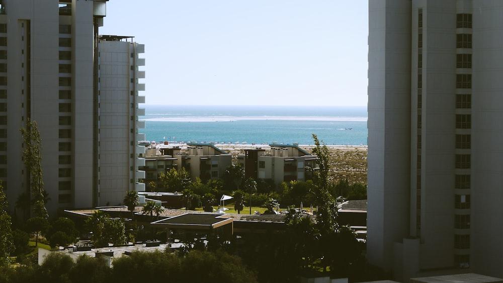 white high rise buildings near beach