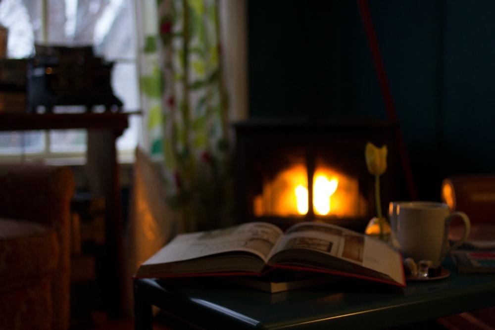 white book near mug