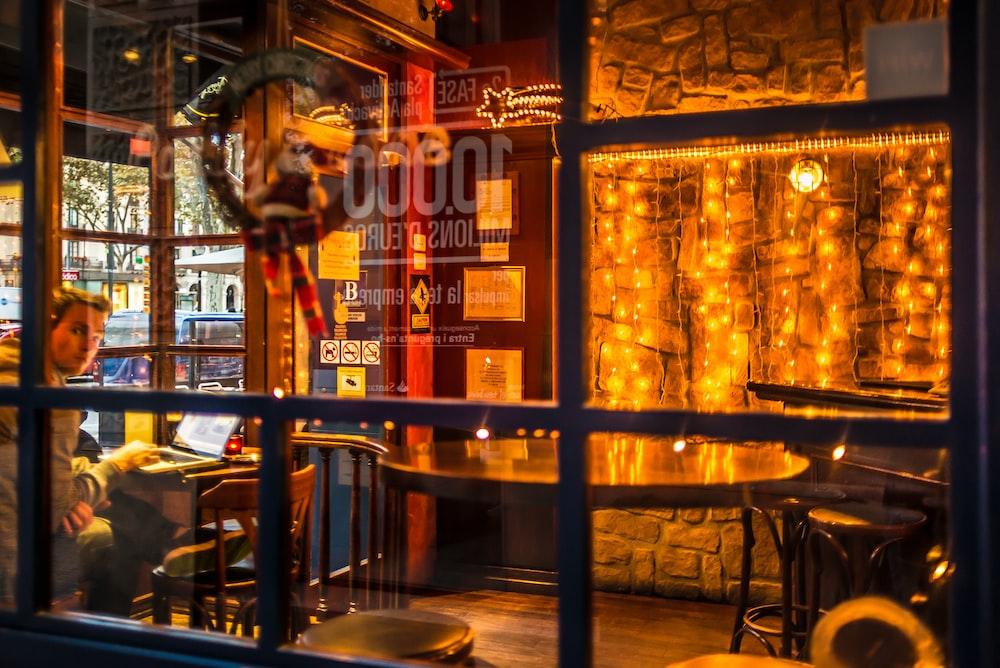 glass panel with frame inside restaurant