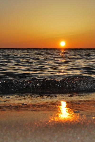 warm sunrise on beach