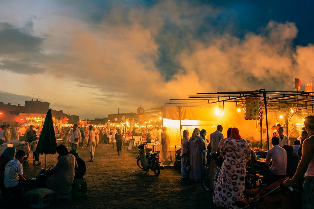 Glowing bazaar at night