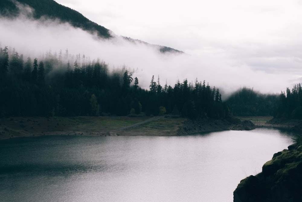 calm body of water surrounded by mountain and fogs