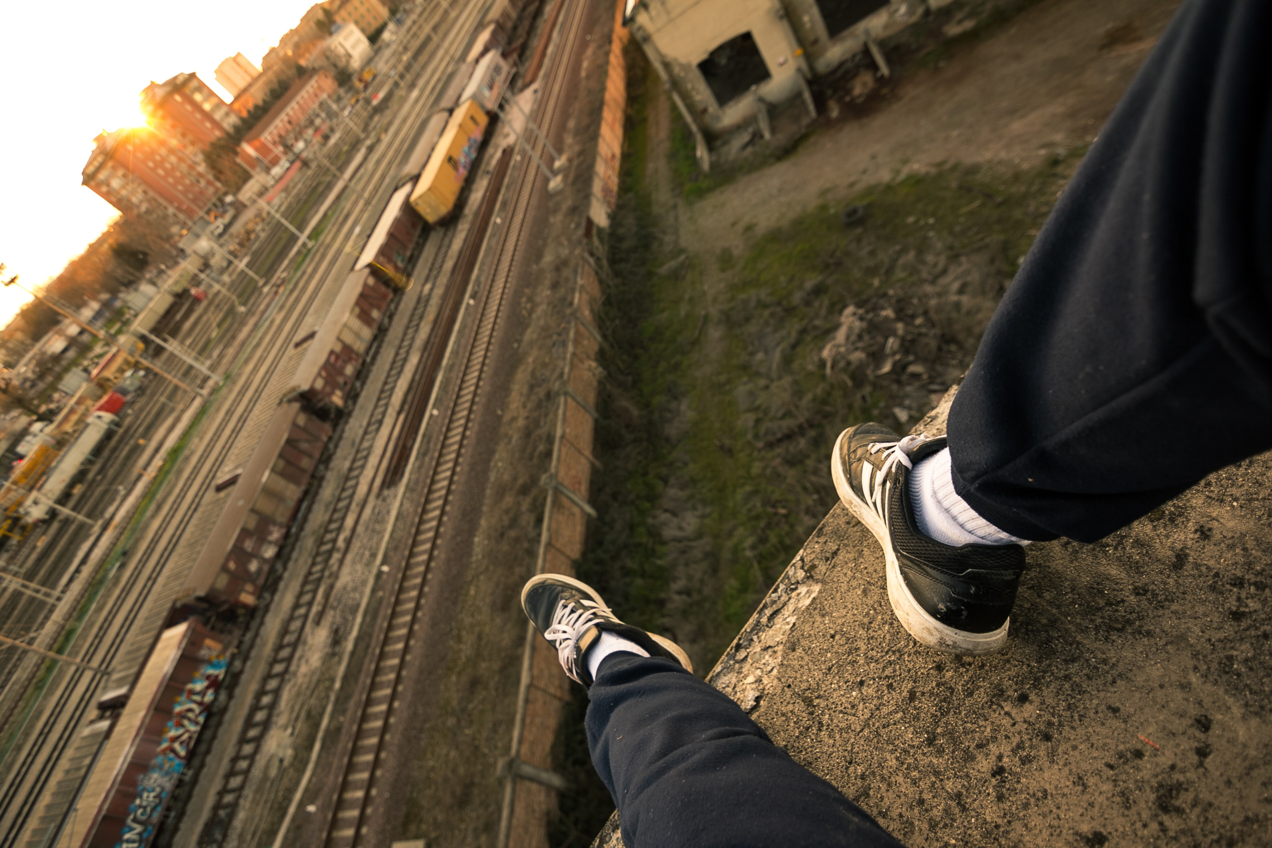 person sitting on rooftop