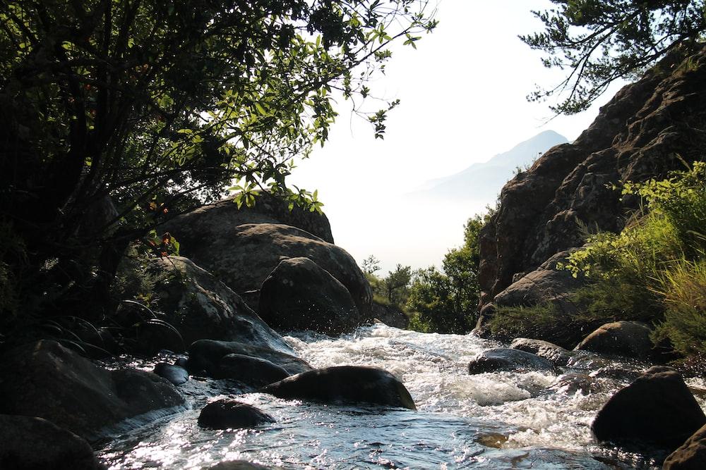 body of water between rock formation