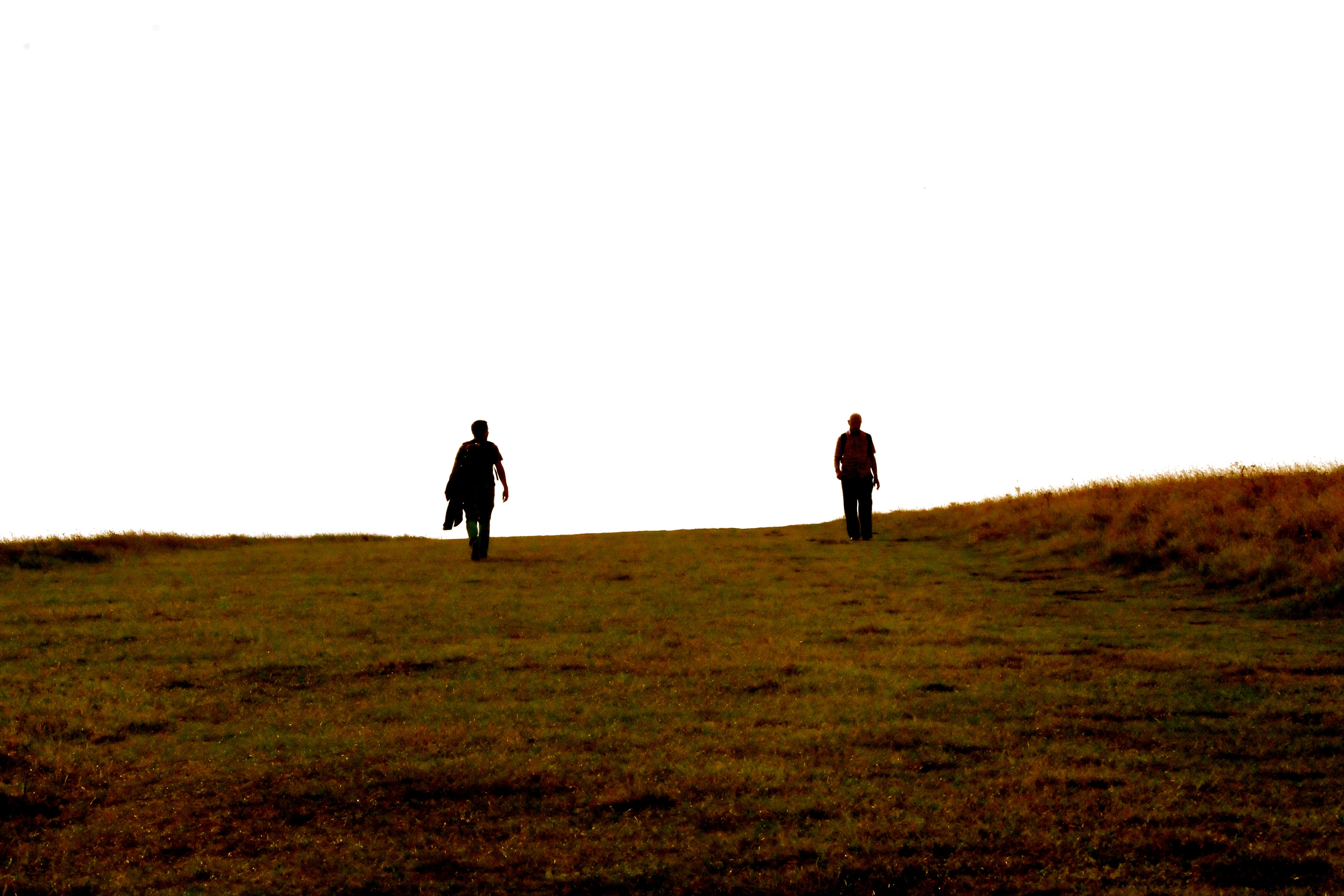 Two people walking down a gentle hill filled with grass under a clear white sky