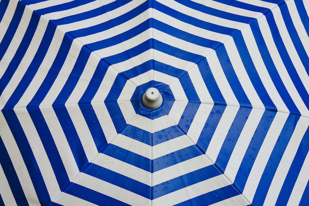 opened striped umbrella