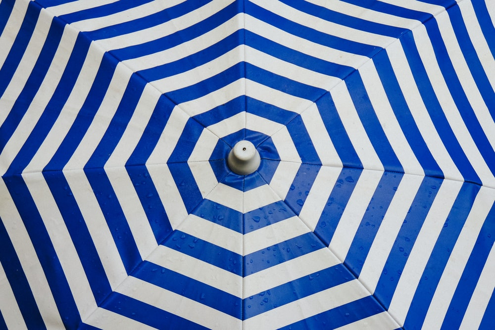 opened striped umbrella