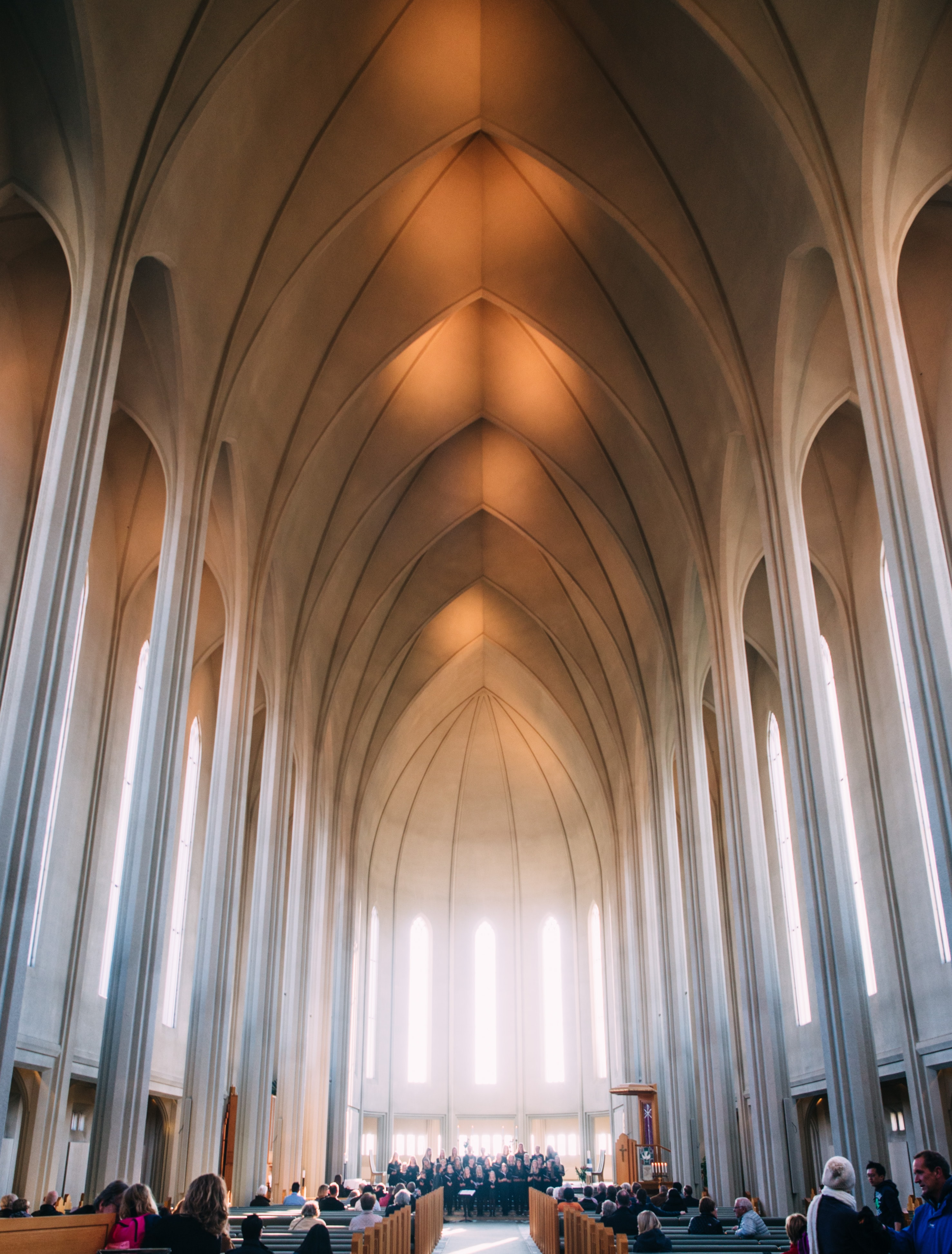 landscape photography of church interior
