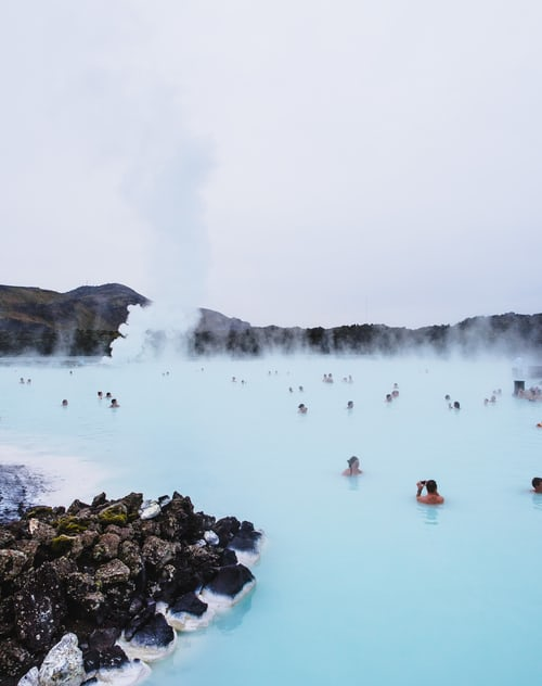 Hot spring bath in Iceland
