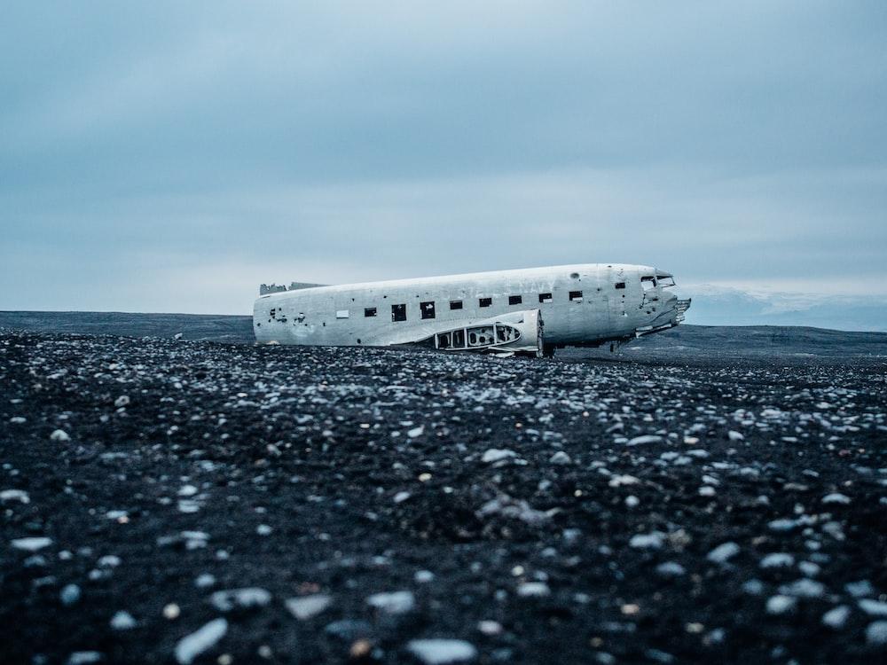 wrecked plane on the desert
