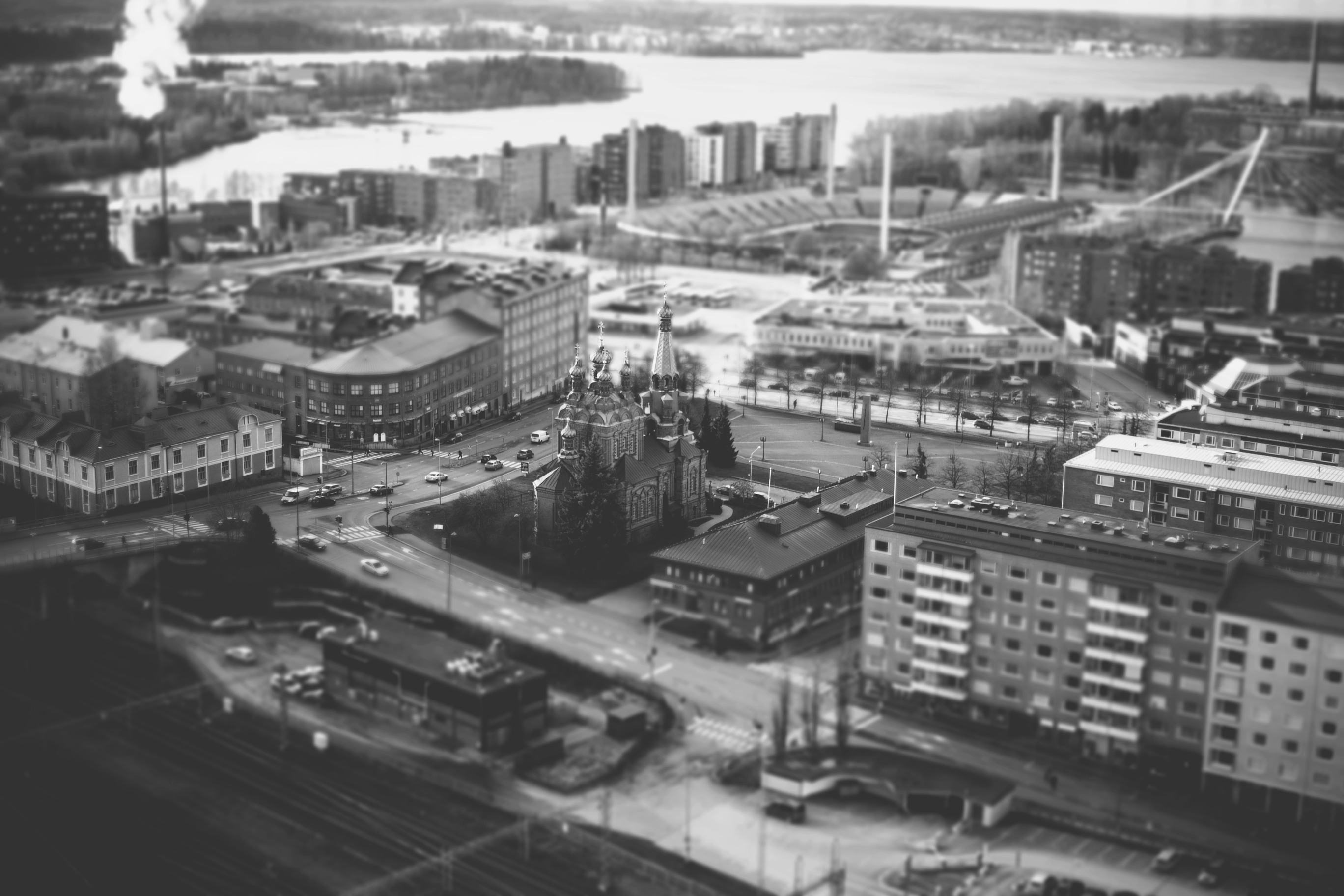 Black and white vintage shot of industrial district with factories