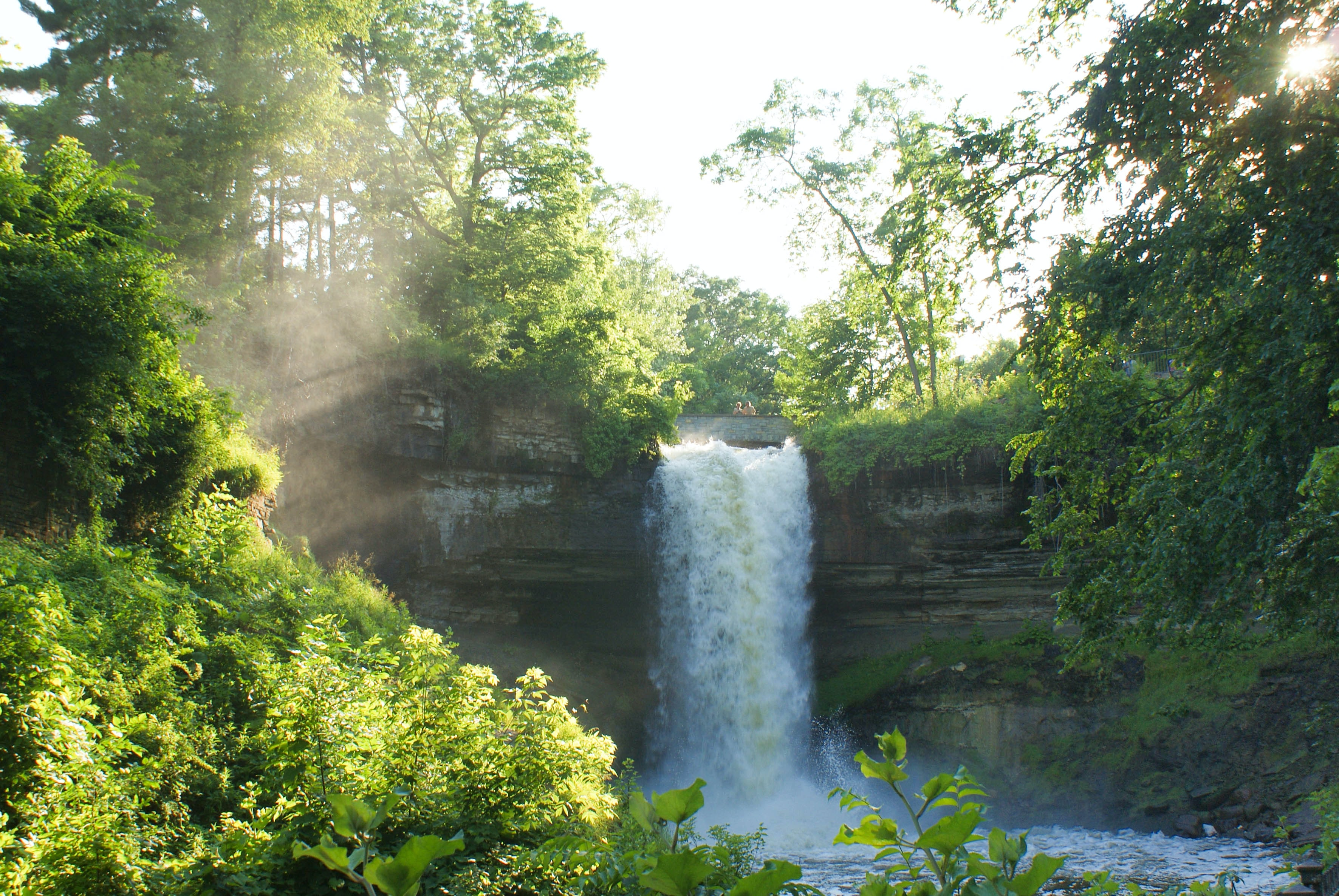waterfalls surrounded by green trees during daytime