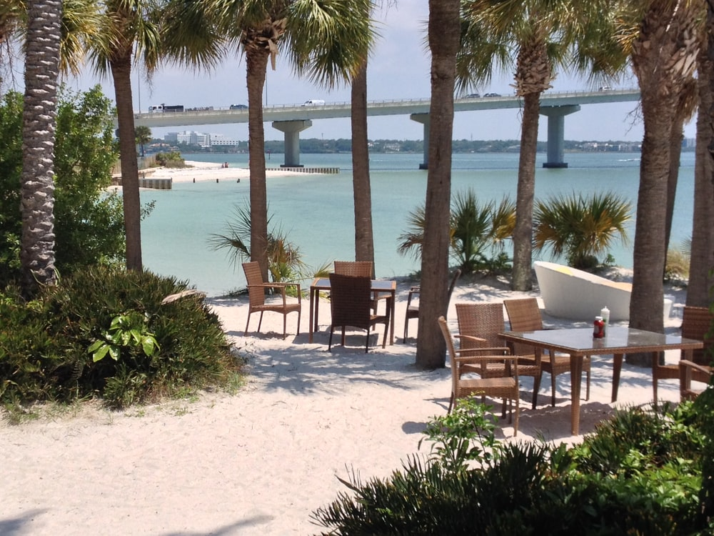 brown wooden chairs and table near body of water