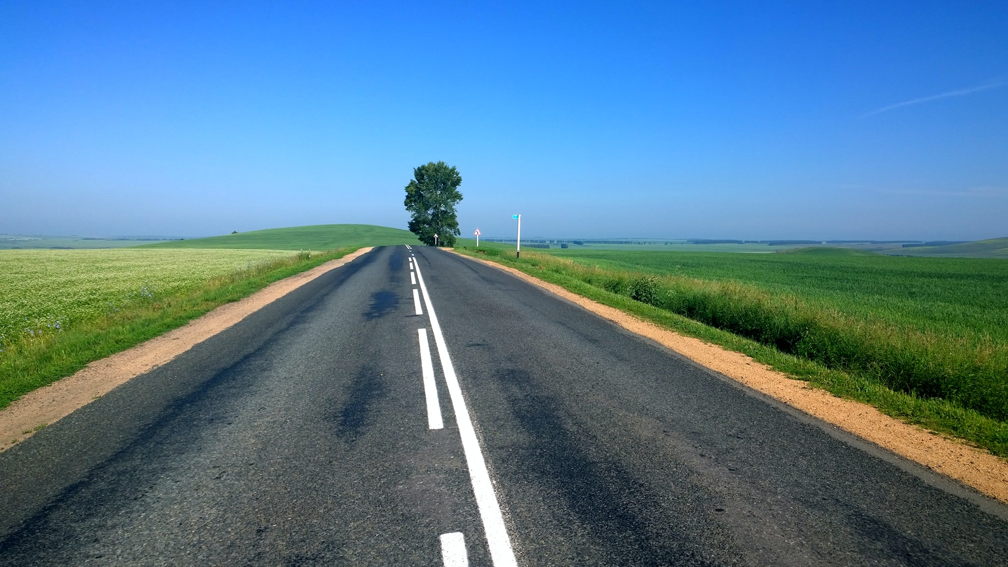 An open country road surrounded by green farm field