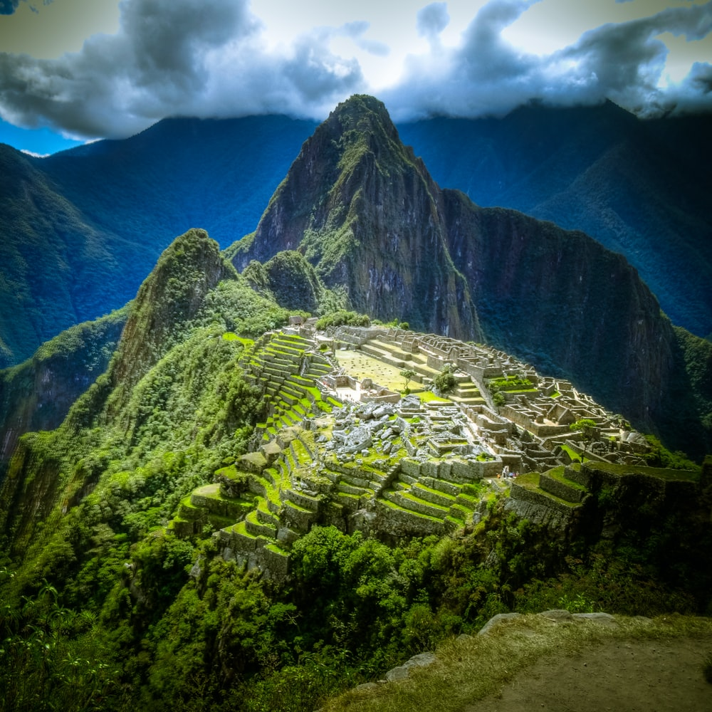 aerial photo of Machu Picchu, Peru