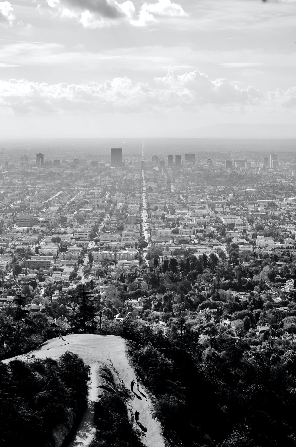 grayscale aerial photo of city