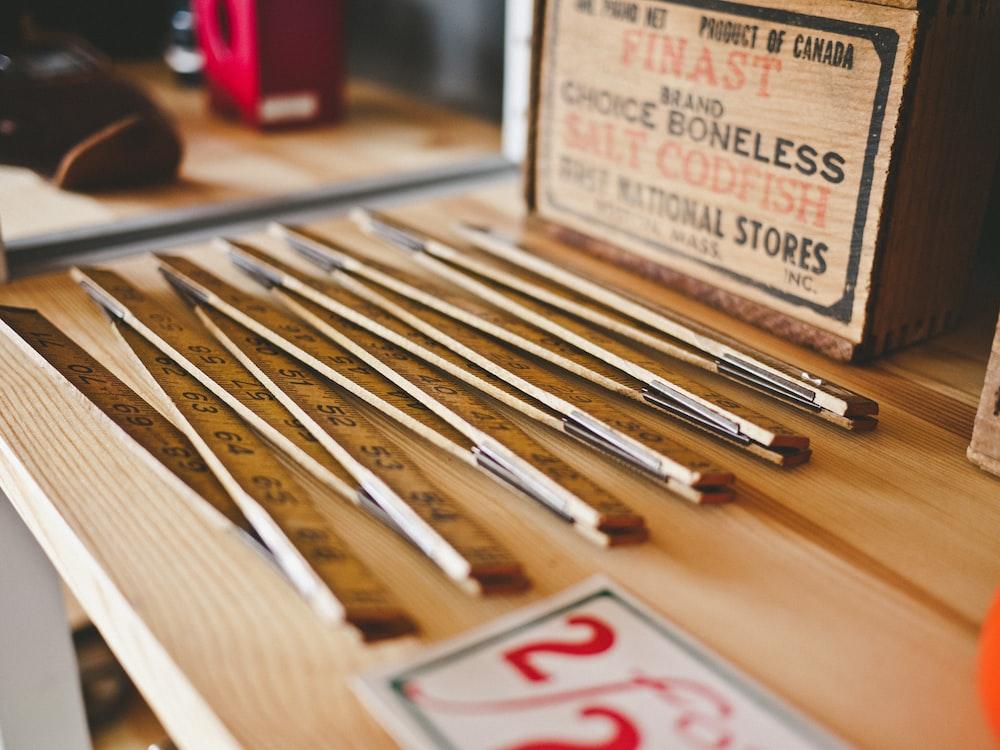 closeup photo of folding rulers