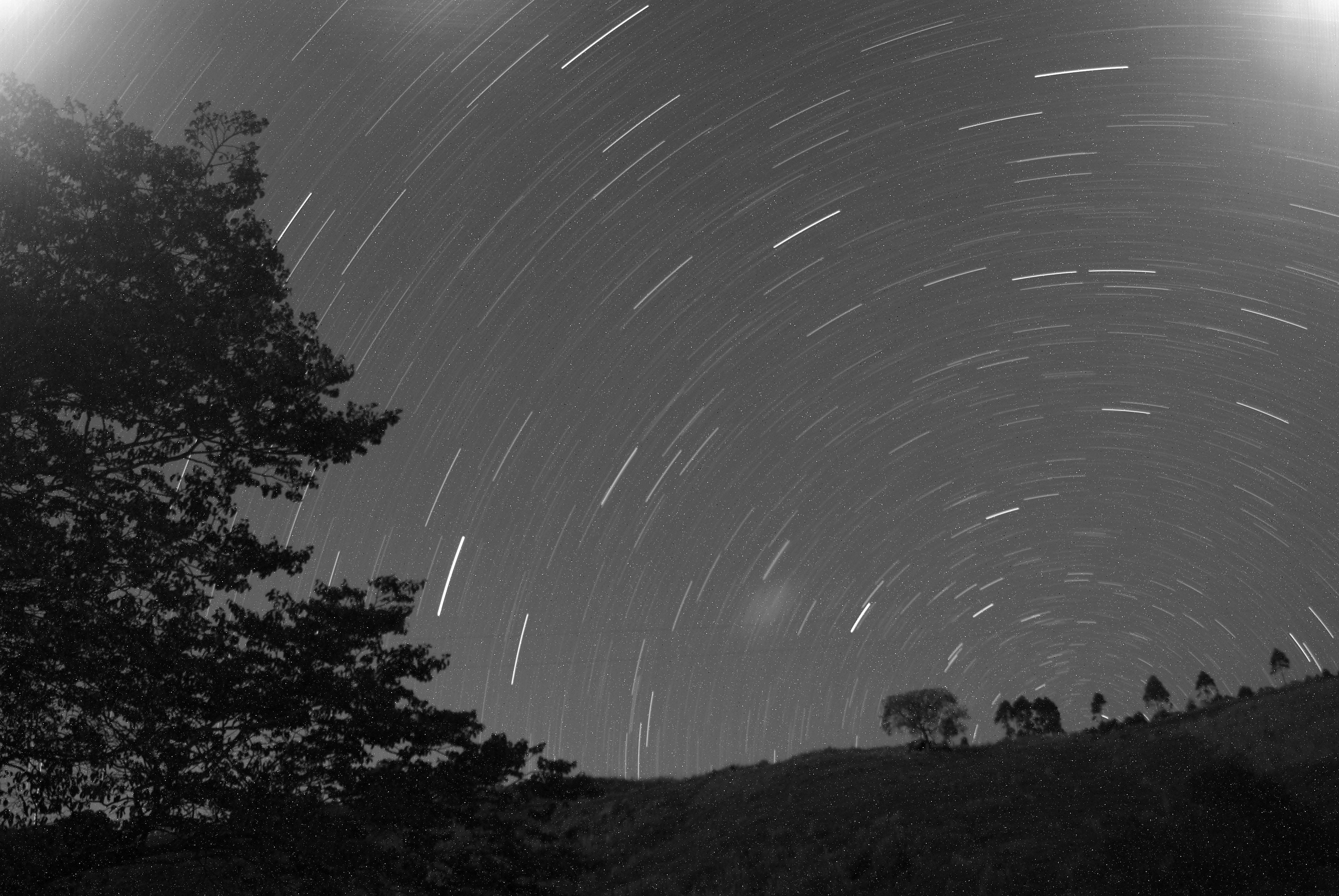 Stars form spirals across the night sky