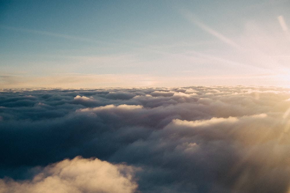 bird's eye view photo of white clouds