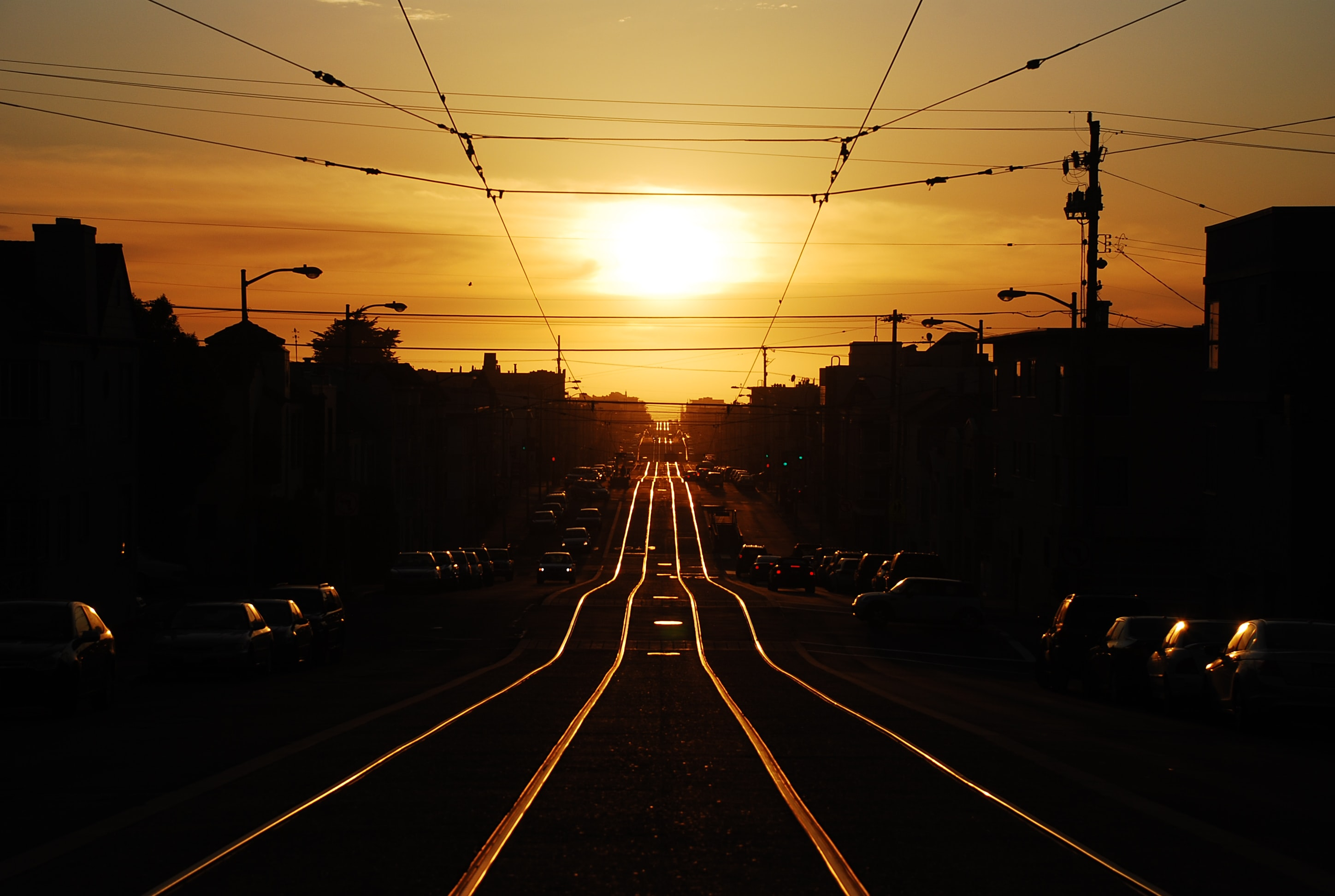 Sunset along the trolly track in San Francisco's Inner Sunset neighborhood