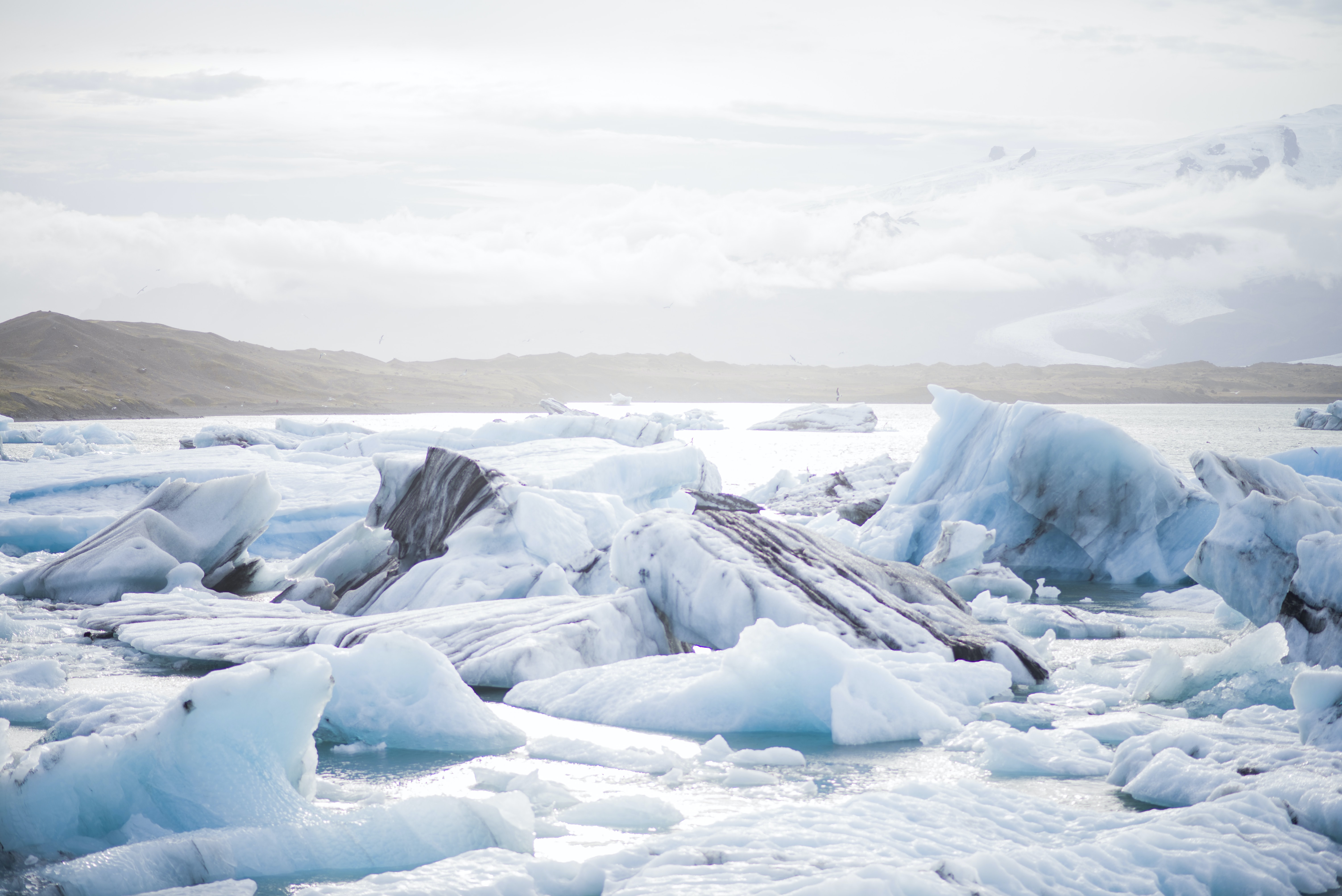 Large blocks of ice on a glacier in the mountain