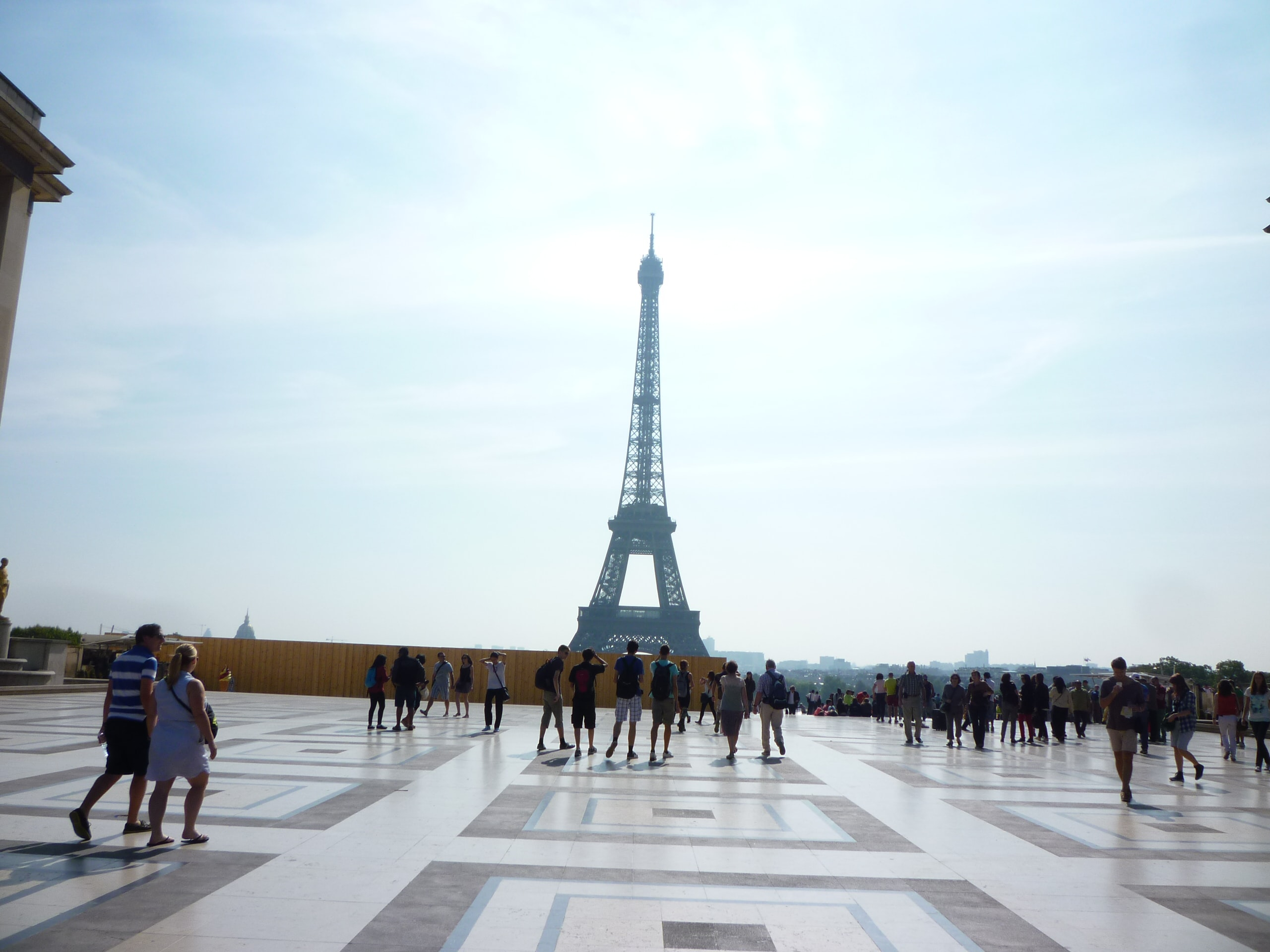 An architectural shot of Eiffel Tower from the Trocadéro square