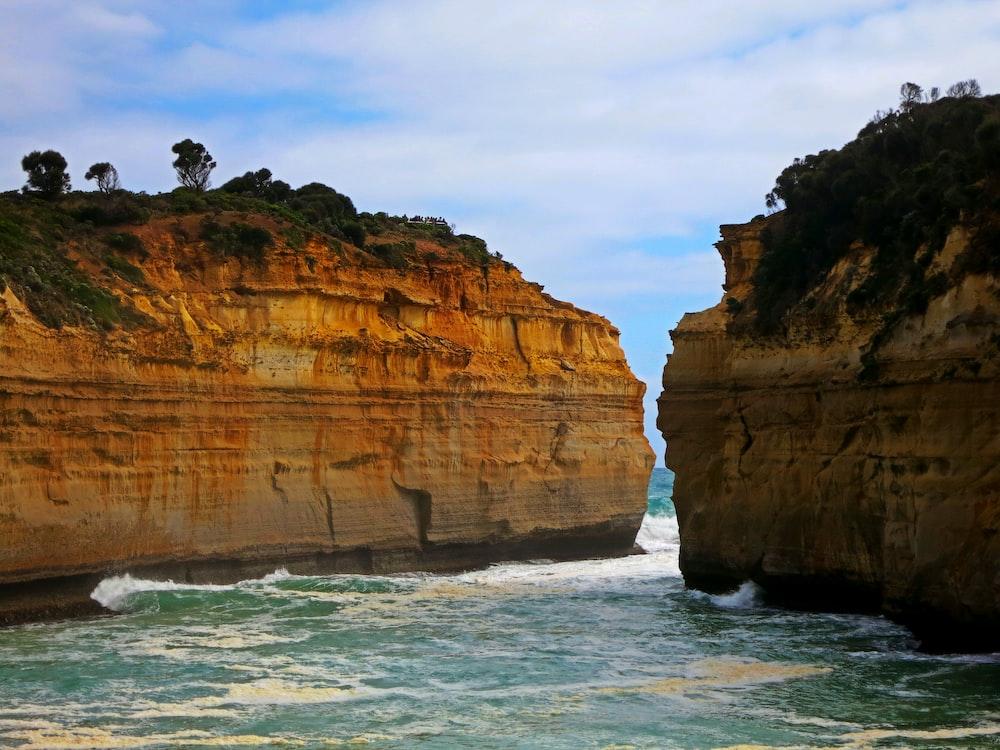 two brown cliffs