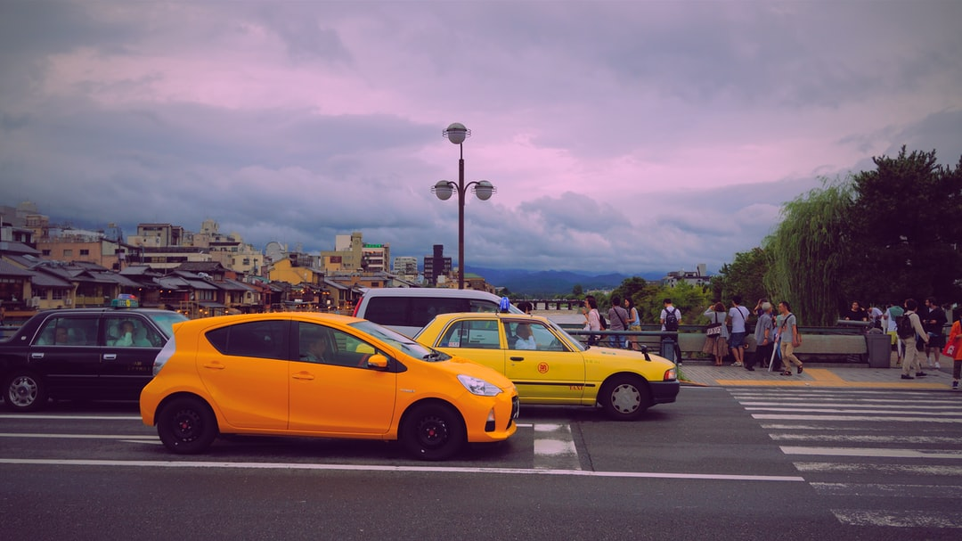 yellow car traffic