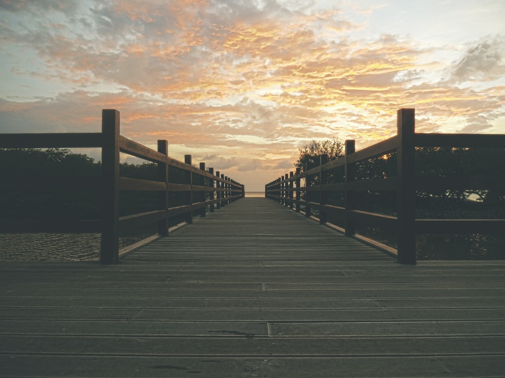 photo of brown wooden dock near trees under cloudy sky photo taken during sunset