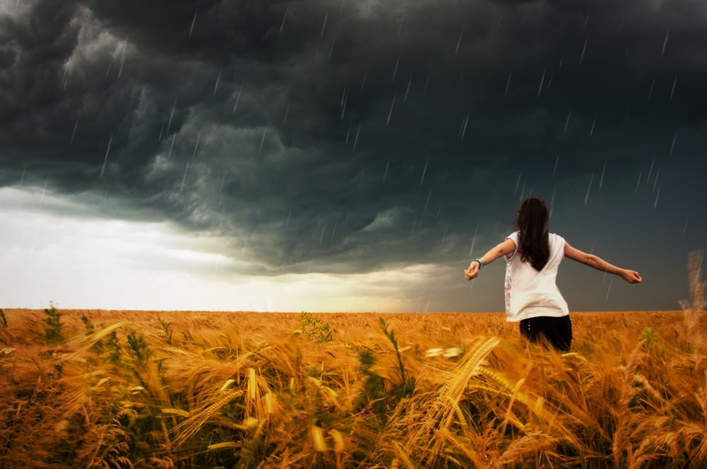 woman standing on whey field