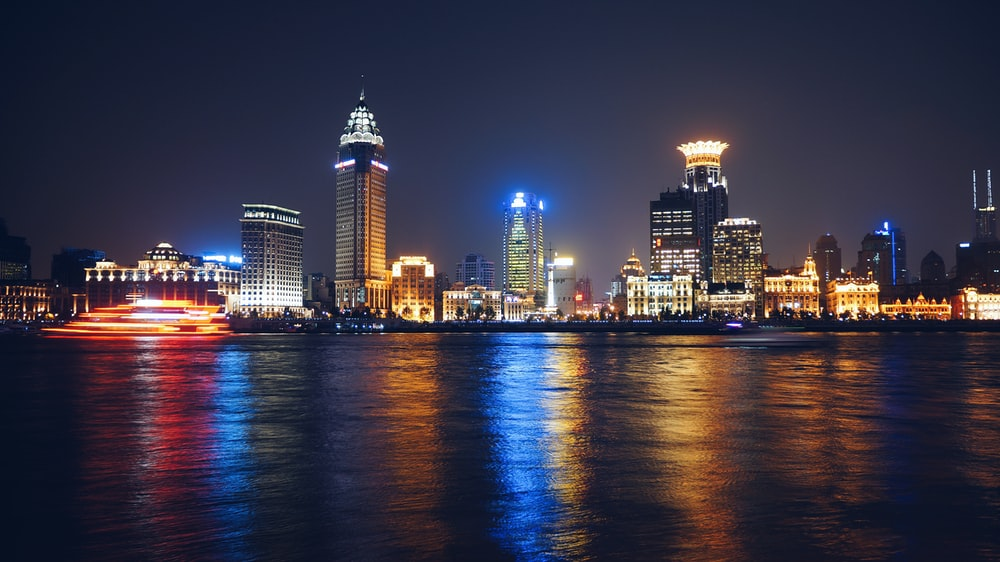assorted tall buildings during night