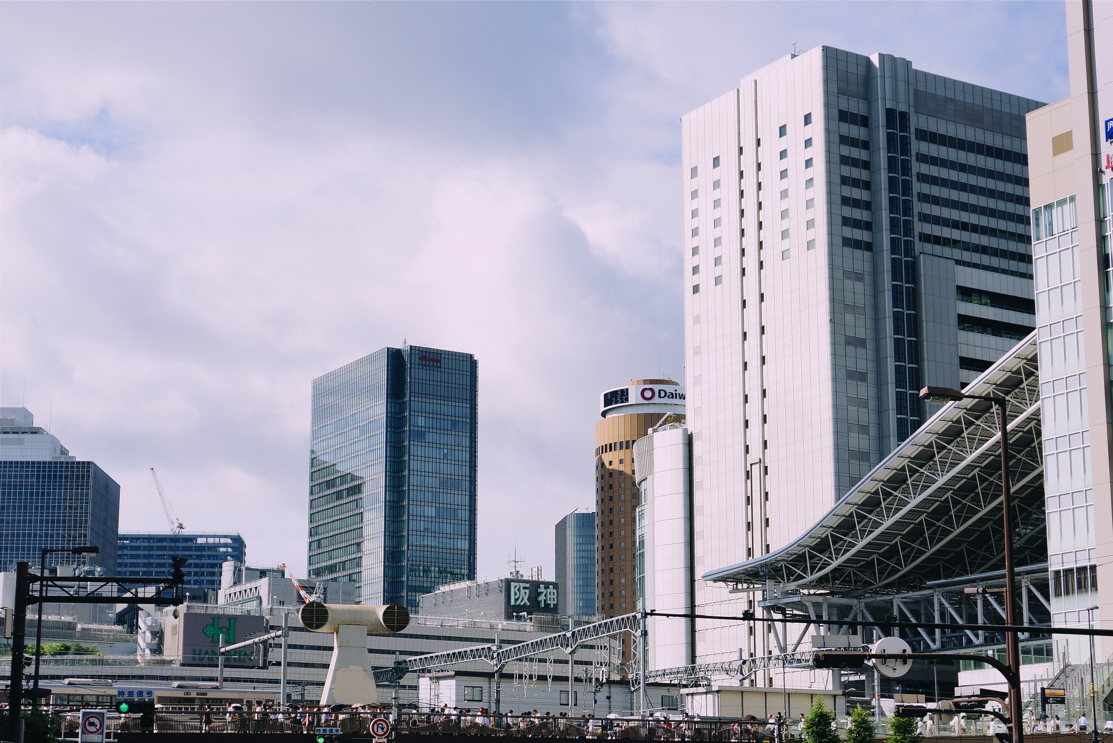 An office district with a modern exterior of offices and architectural designs depicting a modern cityscape