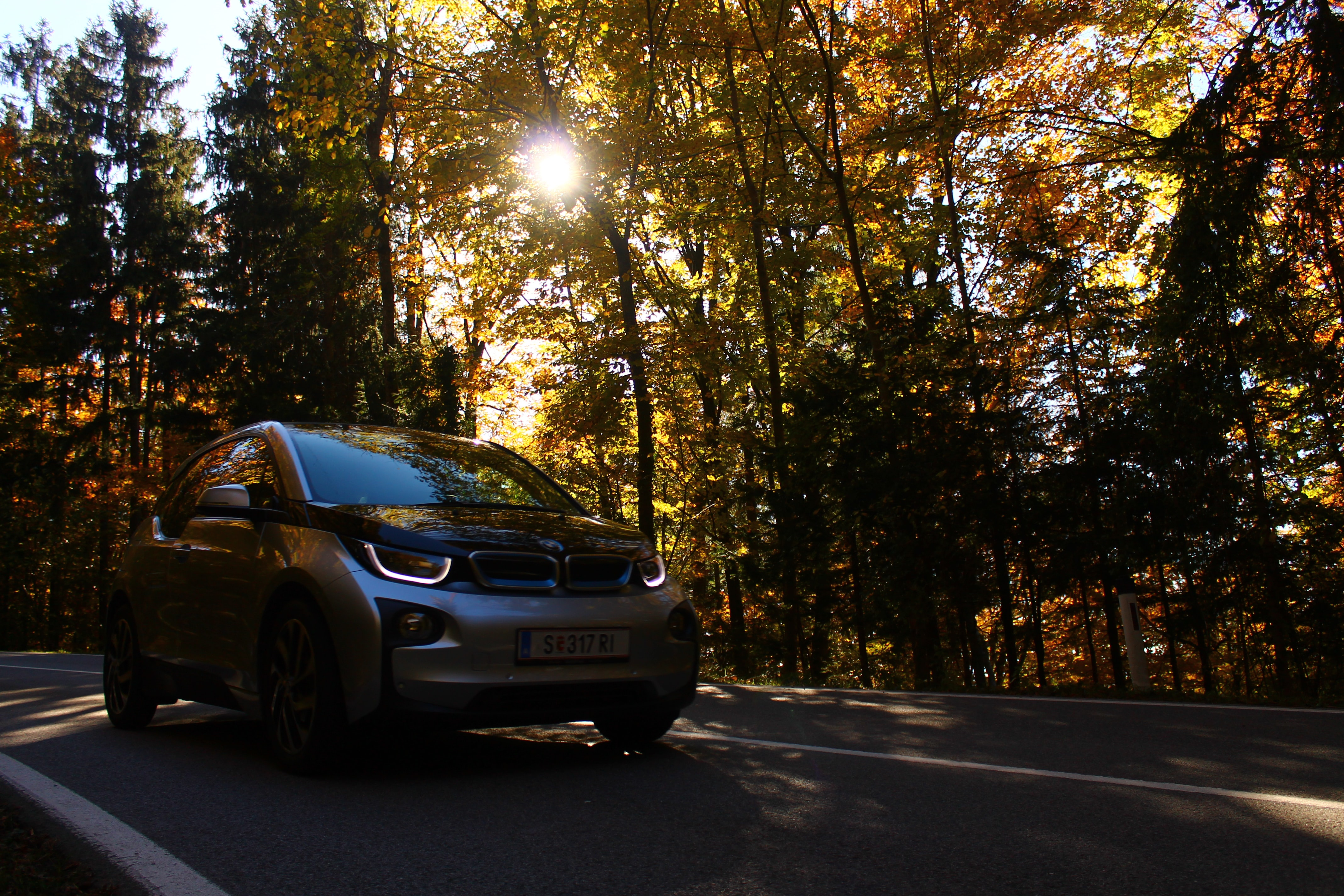A dim shot of a small car driving on a road with sun breaking through the roadside trees