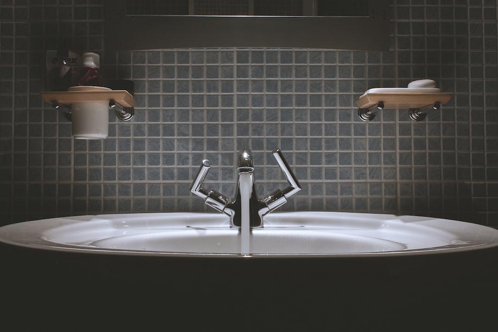 gray steel faucet
