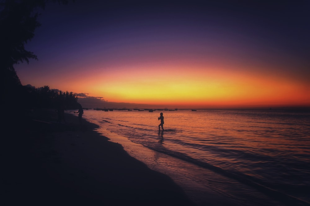 silhouette of person standing on shore during sunset
